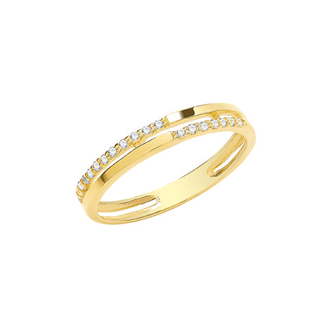 9CT GOLD CUBIC ZIRCONIA SET DOUBLE BAND RING