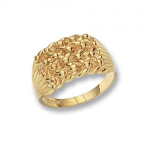 9CT GOLD HEAVY FOUR ROW KEEPER RING