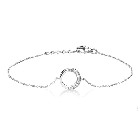RHODIUM PLATED SILVER HALF CUBIC ZIRCONIA OPEN CIRCLE BRACELET