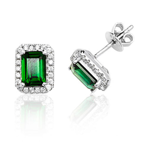 RHODIUM PLATED SILVER EMERALD CUT GREEN CUBIC ZIRCONIA HALO STUDS