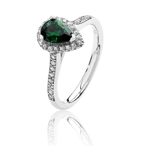RHODIUM PLATED SILVER PEAR CUT GREEN CUBIC ZIRCONIA HALO RING