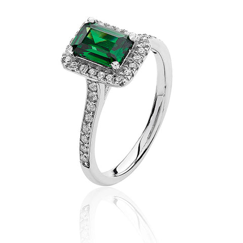 RHODIUM PLATED SILVER EMERALD CUT GREEN CUBIC ZIRCONIA HALO RING