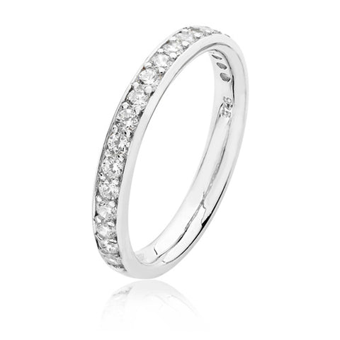 RHODIUM PLATED SILVER THREAD & GRAIN SET CUBIC ZIRCONIA HALF ETERNITY RING