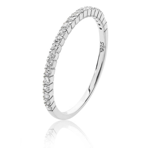 SILVER MICRO SET CUBIC ZIRCONIA RHODIUM PLATED HALF ETERNITY RING