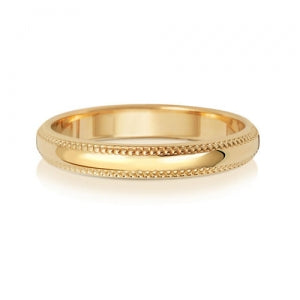 18CT GOLD D SHAPE MILLGRAIN WEDDING BAND