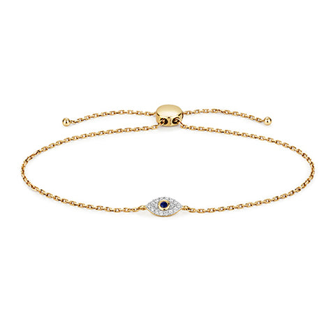 9CT GOLD SAPPHIRE & DIAMOND EVIL EYE FRIENDSHIP BRACELET