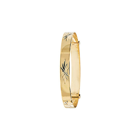 9CT GOLD DIAMOND CUT EXPANDING BABY BANGLE