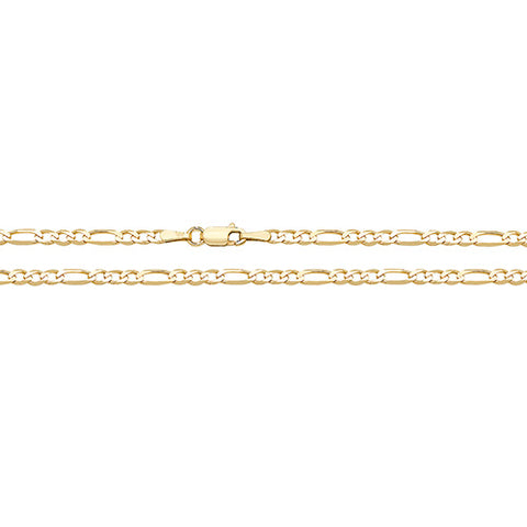 9CT GOLD 3.5MM FIGARO CHAIN BRACELET
