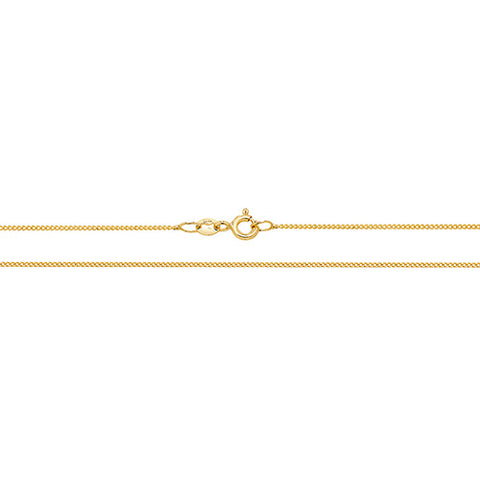 9CT GOLD FINE CLOSE CURB PENDANT CHAIN