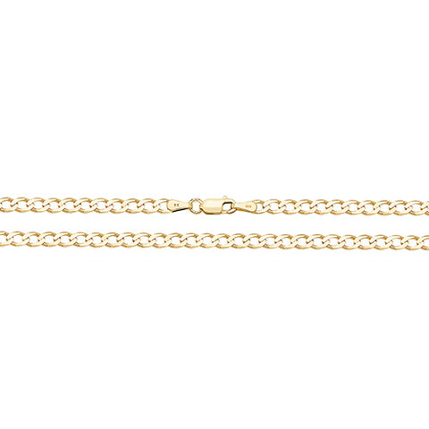 9CT GOLD 3.5MM FLAT BEVELLED CURB CHAIN ANKLET