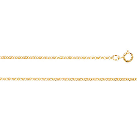 9CT GOLD FINE 1.5MM ROUND BELCHER CHAIN