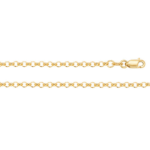9CT GOLD LARGE 3MM ROUND BELCHER CHAIN