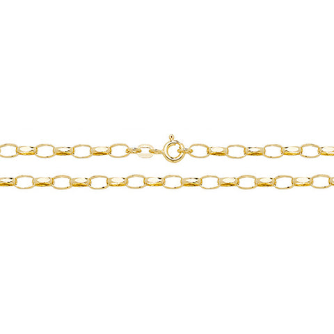 9CT GOLD 4.5MM FACETED OVAL BELCHER CHAIN
