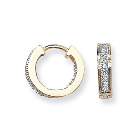 9CT GOLD DIAMOND HUGGIE HOOPS