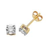 9CT GOLD ILLUSION SET DIAMOND STUDS