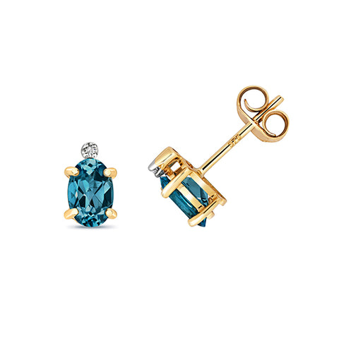 9CT GOLD OVAL LONDON BLUE TOPAZ & DIAMOND STUDS