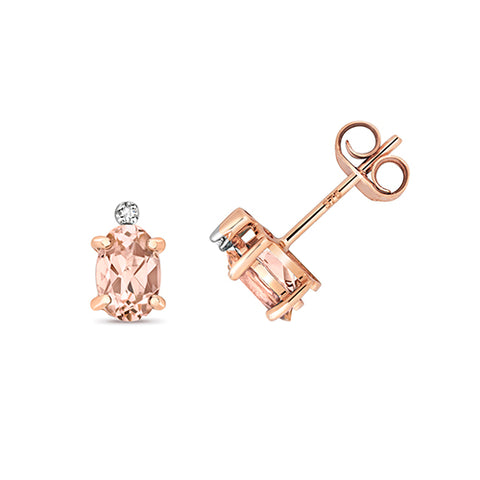 9CT ROSE GOLD OVAL MORGANITE & DIAMOND STUDS