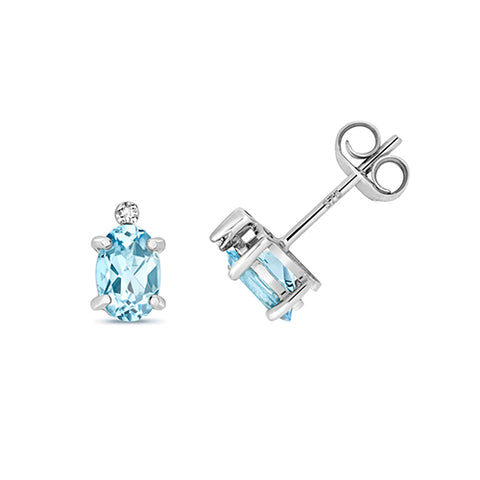 9CT WHITE GOLD OVAL AQUAMARINE & DIAMOND STUDS