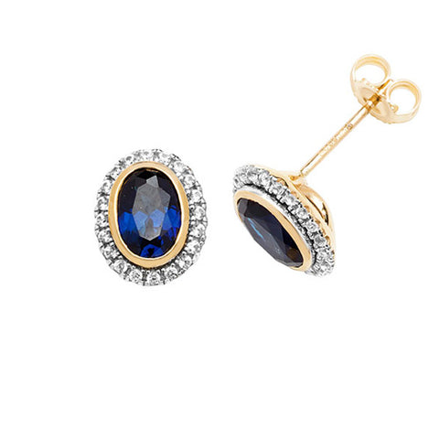 9CT GOLD OVAL CREATED SAPPHIRE & WHITE SAPPHIRE STUD EARRINGS