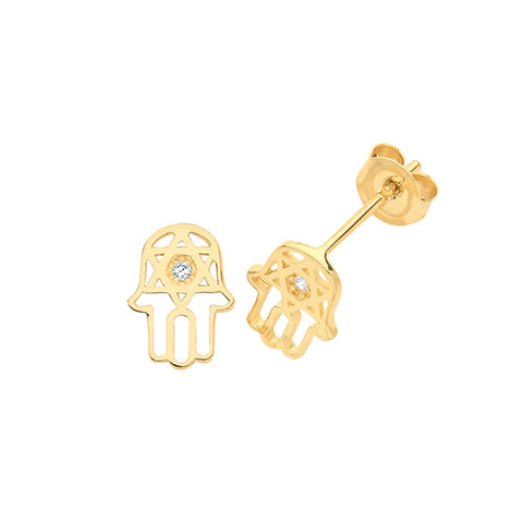 9CT GOLD CUBIC ZIRCONIA HAMSA STUD EARRINGS