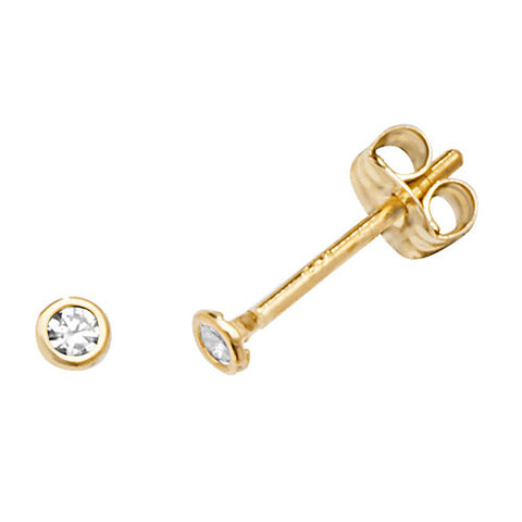 9CT GOLD ROUND CUBIC ZIRCONIA STUD EARRINGS