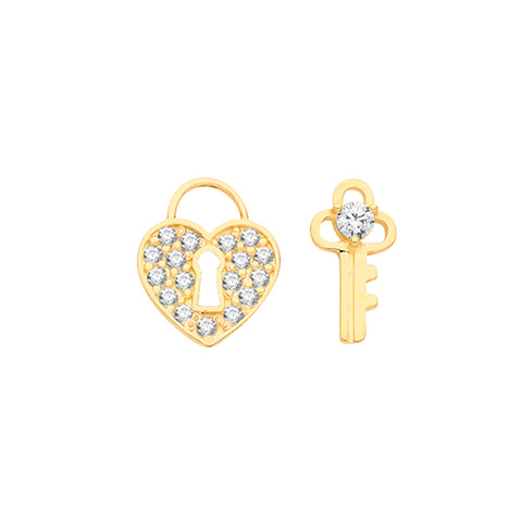 9CT GOLD CUBIC ZIRCONIA HEART PADLOCK & KEY MISMATCHED STUD EARRINGS