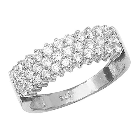 SILVER THREE ROW CUBIC ZIRCONIA RING