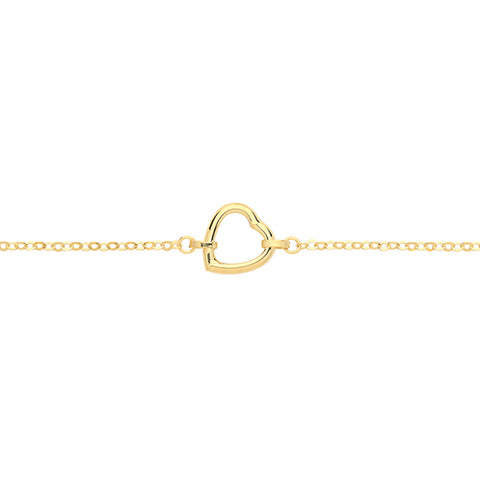 9CT GOLD ASYMMETRIC HEART BRACELET