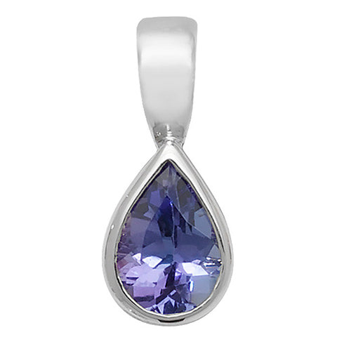 9CT WHITE GOLD PEAR CUT RUBOVER SET TANZANITE PENDANT