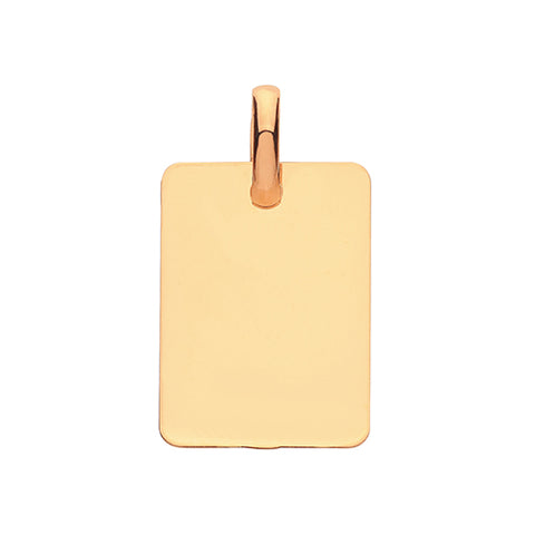 9CT GOLD RECTANGULAR PLAIN TAG/PENDANT