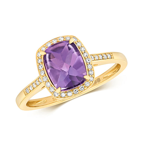 9CT GOLD CUSHION CUT AMETHYST & DIAMOND RING
