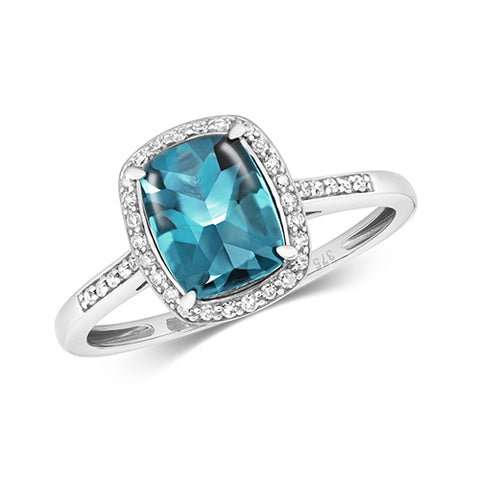 9CT WHITE GOLD CUSHION CUT LONDON BLUE TOPAZ & DIAMOND RING