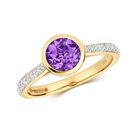 9CT GOLD BRILLIANT CUT AMETHYST & DIAMOND RING