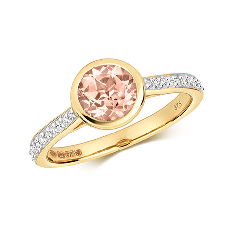 9CT GOLD BRILLIANT CUT MORGANITE & DIAMOND RING