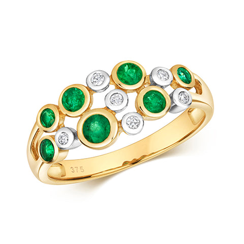 9CT GOLD RUBOVER SET EMERALD & DIAMOND RING