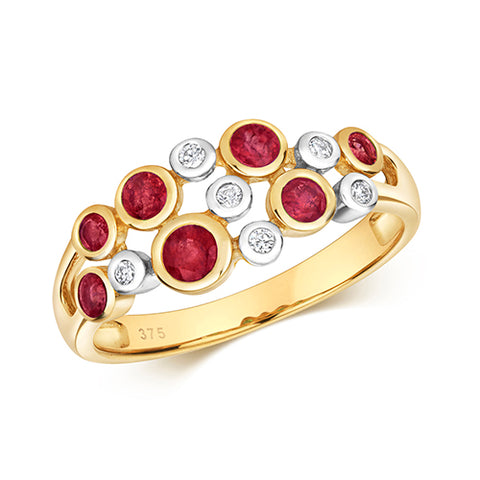 9CT GOLD RUBOVER SET RUBY & DIAMOND RING