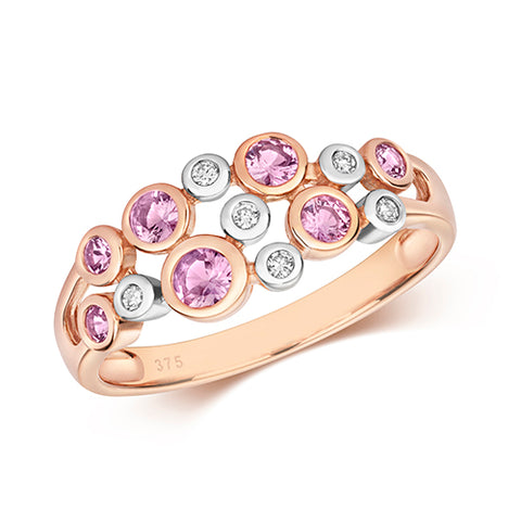 9CT ROSE GOLD RUBOVER SET PINK SAPPHIRE & DIAMOND RING
