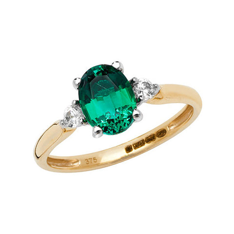 9CT GOLD OVAL CUT CREATED EMERALD & WHITE SAPPHIRE RING