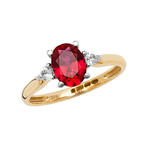 9CT GOLD OVAL CUT CREATED RUBY & WHITE SAPPHIRE RING