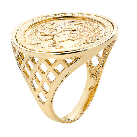 9CT GOLD FULL SOVEREIGN SIZE ST GEORGE RING