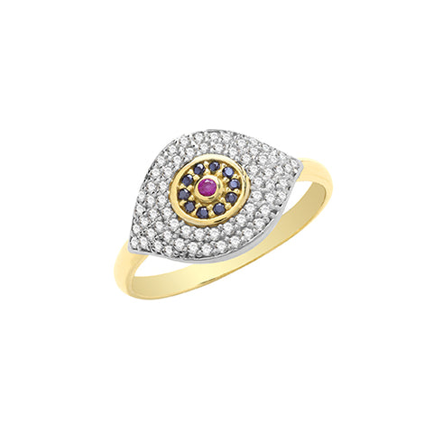9CT GOLD PAVE SET CUBIC ZIRCONIA EVIL EYE RING