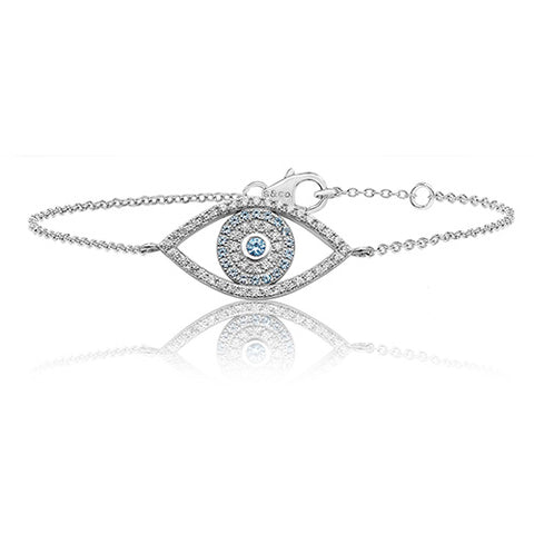 RHODIUM PLATED SILVER LARGE CUBIC ZIRCONIA EVIL EYE BRACELET