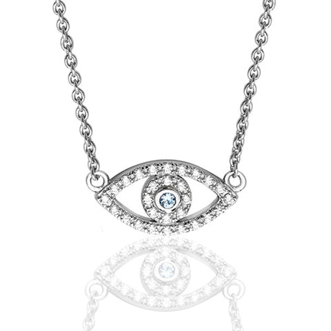 RHODIUM PLATED SILVER SMALL CUBIC ZIRCONIA SET EVIL EYE NECKLACE