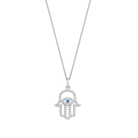 RHODIUM PLATED SILVER CUBIC ZIRCONIA HAMSA & EVIL EYE TALISMAN NECKLACE