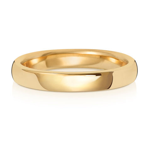 9CT YELLOW GOLD 3MM SOFT COURT WEDDING BAND