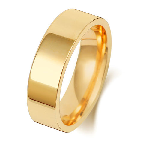 18CT GOLD 6MM FLAT COURT WEDDING BAND