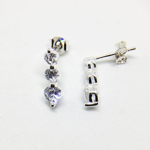 SILVER 3 HEART CUBIC ZIRCONIA STUD EARRINGS