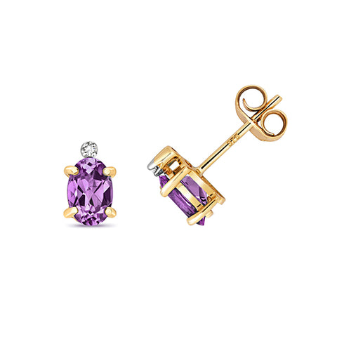 9CT GOLD OVAL AMETHYST & DIAMOND STUDS
