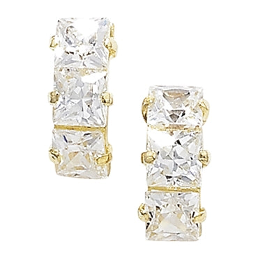 9CT GOLD SQUARE CUT CUBIC ZIRCONIA MINI HALF HOOPS