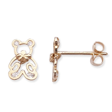 9CT GOLD CUBIC ZIRCONIA TEDDY BEAR STUDS